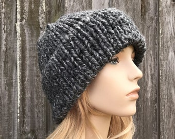 Chunky Knit Hat, Mens Hat, Womens Hat, Warm Winter Hat, Knit Cap, Knit Beanie, Double Thick Brim Hat, Delphine, Granite Grey, Ready To Ship