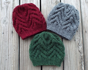 6e82fde9c47297 Knit Hat Pattern Cable Beanie Knitting Pattern - Womens or Mens Bulky Yarn Cable  Hat - Evergeen Cable Beanie - Instant Download