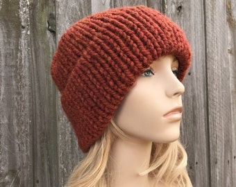Chunky Knit Hat, Mens Hat, Womens Hat, Warm Winter Hat, Knit Cap, Knit Beanie, Double Thick Brim Hat, Delphine, Spice, Ready To Ship