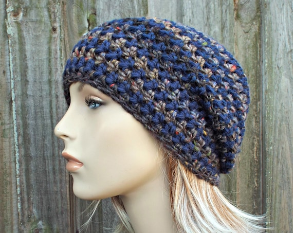 Navy Blue and Brown Crochet Hat Womens Hat - One of a Kind Slouchy Striped Beanie Hat Crochet Hat Winter Accessories - READY TO SHIP