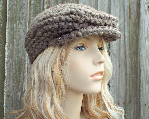 Knit Hat Taupe Brown Newsboy Hat - Womens Newsboy Hat Mens Newsboy Hat Knit Accessories - Barley Tweed Hat Golf Cap