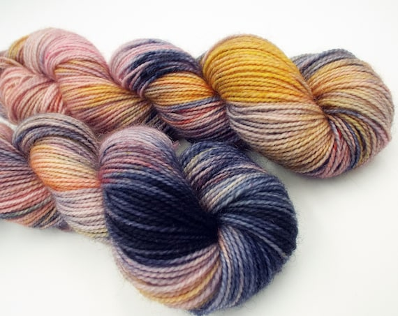 Hand Dyed Sock Yarn Superwash Wool Nylon 80/20 Fingering Weight Yarn Sock Yarn 50 Grams - Variegated Navy Peach Yarn - Summer Wedding
