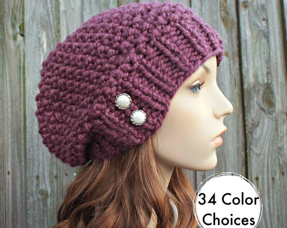 Womens Chunky Knit Hat Seed Beret Fig Purple Slouchy Beanie - Fall Fashion Warm Winter Hat Knit Accessories