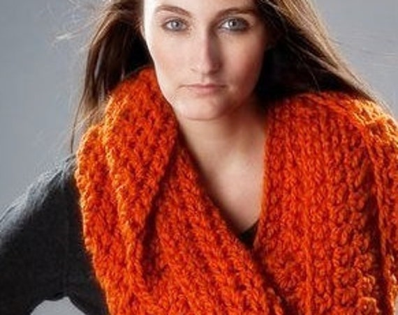 Chunky Oversized Circle Scarf Infinity Scarf Crocheted Cowl - Vermonter Infinity Cowl - Pumpkin Orange Cowl Orange Scarf