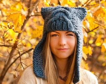 Chunky Knit Hat for Women or Men, Womens Hat, Mens Hat, Winter Hat, Ear Flap Hat, Trapper Hat, Dragon Slayer Denim Blue
