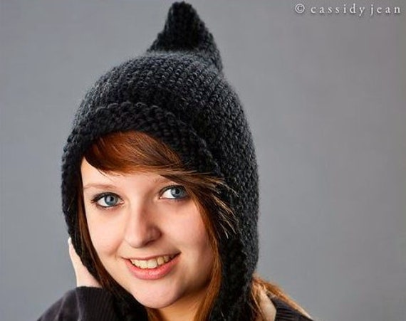 Knit Hat Womens Hat - Black Pixie Hat Black Knit Hat - Black Hat Black Ear Flap Hat Womens Accessories Winter Hat