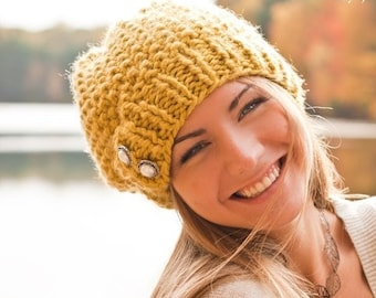 Chunky Knit Hat, Womens Hat, Winter Hat, Slouchy Beanie, Boho Hat, Knit Beret, Knit Cap, Citron Yellow