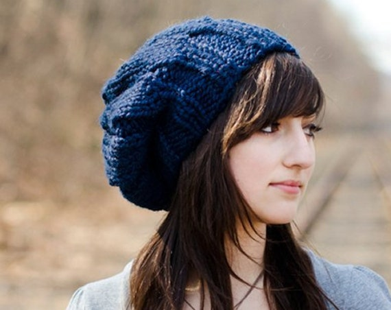 Navy Blue Beret Chunky Knit Hat - Urchin Beret - Blue Knit Hat Blue Hat Blue Beanie Navy Hat Navy Beret Knit Accessories
