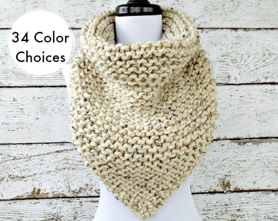 Chunky Knit Cowl Chunky Knit Scarf - Oversized Bandana Cowl Oatmeal Cowl - Oatmeal Scarf Winter Accessories