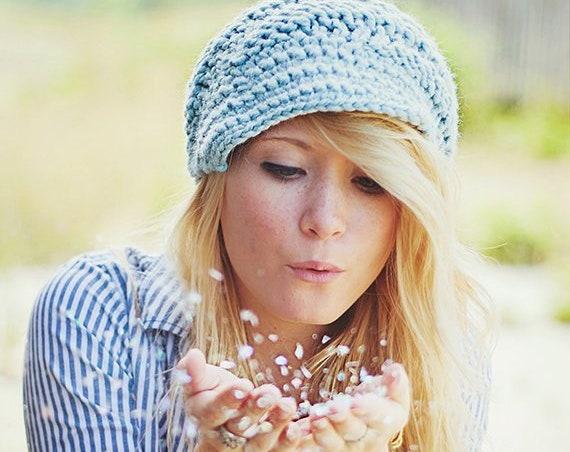 Knit Hat Womens Hat Blue Newsboy Hat - Swirl Beanie Glacier Blue Knit Hat - Blue Hat Blue Beanie Knit Accessories - READY TO SHIP