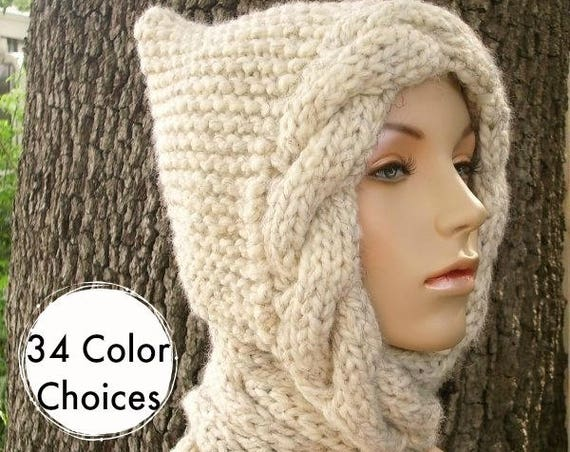 Hooded Scarves Knit Hat Womens Hat - Wheat Cable Scarf Hat Wheat Hooded Scarf Knit Hat - Wheat Scarf Wheat Hat - 34 Color Choices