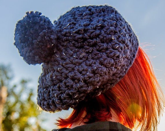 Womens Pom Pom Hat - Grey Beret - Graphite Tweed Crochet Hat Women Slouchy Hat - Grey Hat Grey Beanie Grey Winter Hat
