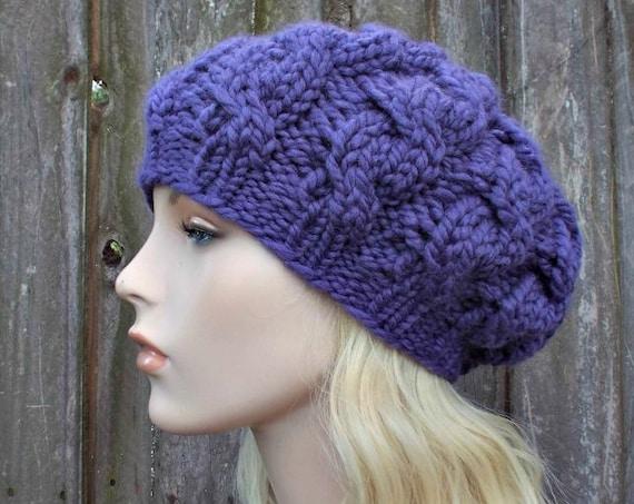 Womens Chunky Knit Hat - Iris Purple Cable Beret - Purple Hat Purple Beret - Fall Fashion Warm Winter Hat Knit Accessories