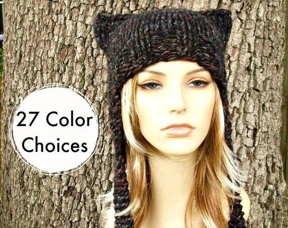 Knit Hat Womens Hat - Ear Flap Hat Cat Hat in Black Grey Maroon Knit Hat Blackstone Hat - Ear Hat Winter Hat