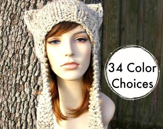 Womens Hat Ear Flap Cat Hat Oatmeal Knit Hat - Oatmeal Hat Oatmeal Beanie Oatmeal Ear Flap Hat Accessories Winter Hat