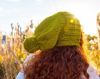 e385ca17489 Lemongrass Green Slouchy Hat Womens Hat - Green Hat Green Beanie -  Charlotte Ear Flap Hat With Pom Pom Knit Accessories