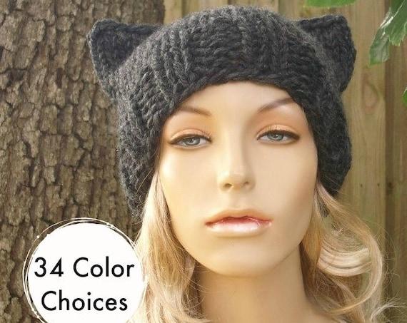 Grey Knit Hat Grey Womens Hat Grey Hat - Grey Cat Beanie Hat in Charcoal Grey Hat Womens Accessories Winter Hat