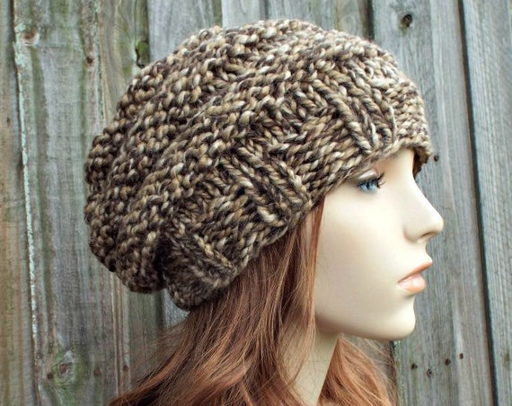 Chunky Knit Hat Womens Slouchy Beanie - Beehive Beret Toffee Brown Knit Hat - Brown Hat Brown Beret Brown Beanie - READY TO SHIP