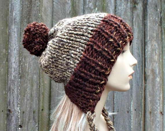 Chunky Knit Hat Womens Brown Pom Pom Hat - Slouchy Ear Flap Beanie With Braided Ties Warm Winter Hat - Charlotte - READY TO SHIP