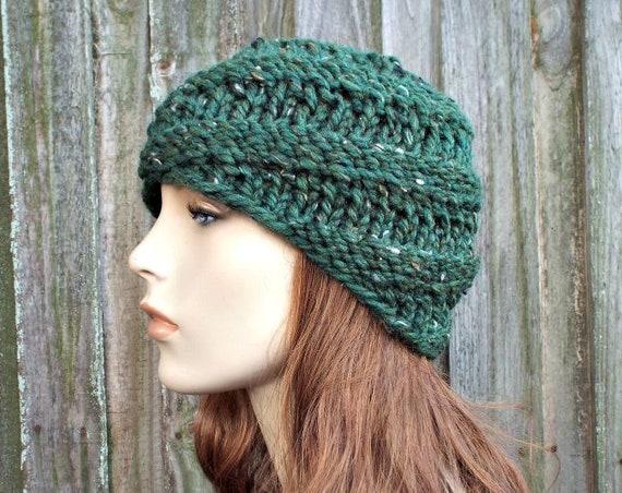 Chunky Knit Hat Womens Kale Green Hat - Swirl Beanie Green Knit Hat - Green Hat Green Beanie Knit Accessories Winter Hat