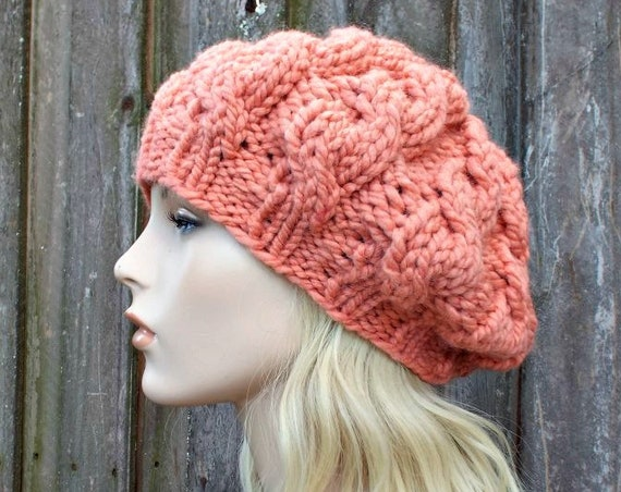 Womens Chunky Knit Hat - Orange Clay Cable Beret - Clay Hat Clay Beret - Fall Fashion Warm Winter Hat Knit Accessories - READY TO SHIP