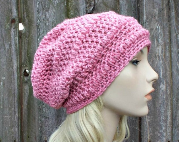 Pink Beanie Pink Hat Pink Slouchy Hat Pink Womens Hat Pink Crochet Hat Pink Winter Hat - Penelope Puff Stitch Beanie - READY TO SHIP