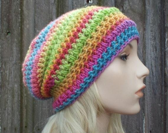 Crochet Hat Womens Hat - Penelope Puff Stitch Slouchy Beanie Hat - Groovy Rainbow Beanie Rainbow Hat - Winter Hat - READY TO SHIP