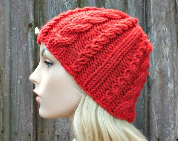 Chunky Knit Womens Hat Red Cable Beanie Red Cable Hat Red Hat Red Beanie Red Knit Hat Red Winter Hat Knit Accessories - READY TO SHIP