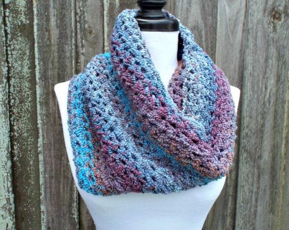 Blue Womens Cowl Blue Crochet Cowl Chunky Winter Circle Scarf - Mountain Dawn Blue Cowl Blue Circle Scarf - READY TO SHIP