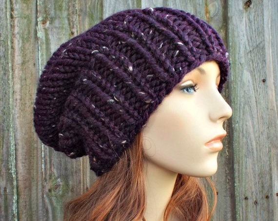 Chunky Knit Hat Womens Mens Warm Winter Beanie Fall Fashion Knit Accessories - Adaline Slouchy Beanie in Purple Tweed