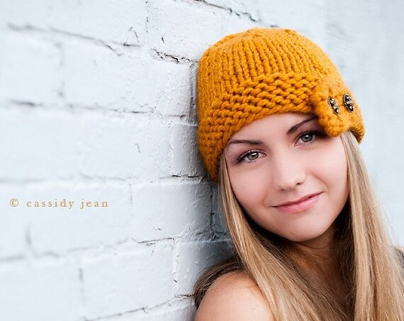 Knit Womens Cloche Hat Mustard Yellow Knit Hat - Mustard Hat Yellow Hat Mustard Beanie Winter Hat Knit Accessories