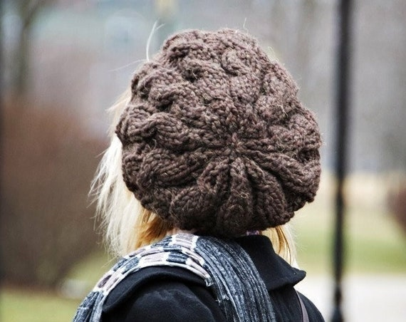 Womens Hat - Brown Cable Beret Hat Wood Brown Knit Hat - Brown Beret Brown Hat Brown Beanie Winter Hat Knit Accessories