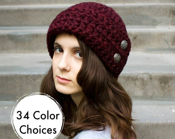 Red Crochet Hat Women Hat 1920s Flapper Hat - Garbo Cloche Hat in Claret Red Wine Crochet Hat - Warm Winter Hat - 34 Color Choices
