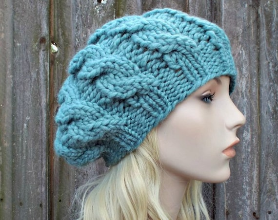 Womens Chunky Knit Hat - Succulent Soft Green Blue Cable Beret - Fall Fashion Warm Winter Hat Knit Accessories