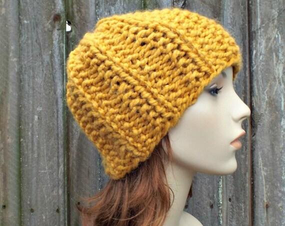 Mustard Mens Hat Mustard Womens Hat Chunky Warm Winter Beanie Knit Accessories Mustard Hat Mustard Beanie - Twilight Beanie - READY TO SHIP