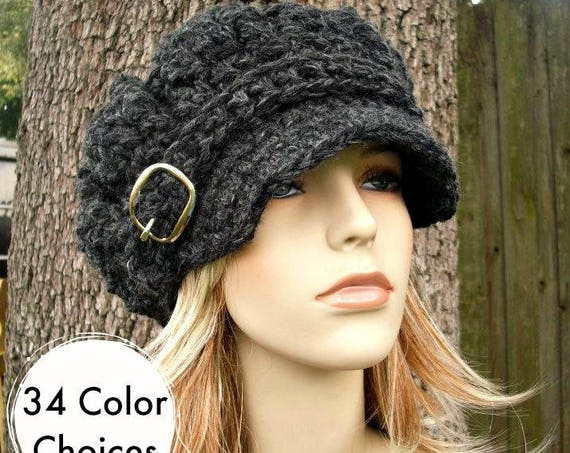 Charcoal Grey Newsboy Hat Crochet Hat Womens Hat Grey Hat - Oversized Monarch Ribbed Crochet Newsboy Hat