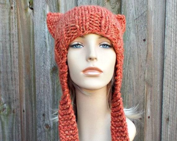 Tangerine Orange Knit Hat Orange Womens Hat - Orange Ear Flap Cat Hat Orange Knit Hat - Orange Hat Orange Beanie Womens Accessories