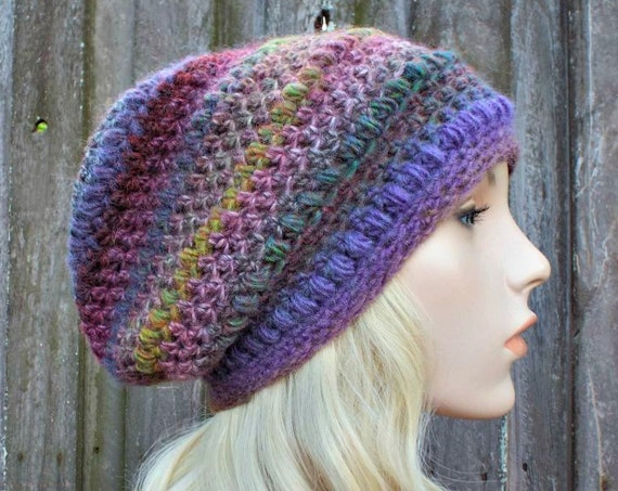 Crochet Hat Womens Hat - Penelope Puff Stitch Slouchy Beanie Hat - Violets Purple Hat - Womens Accessories Winter Hat - READY TO SHIP