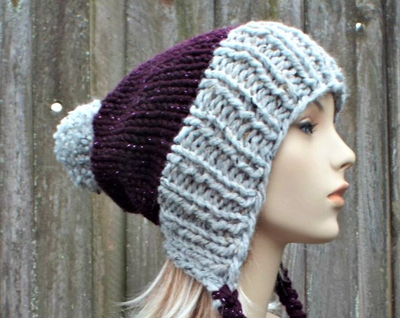 Chunky Knit Hat Womens Grey and Purple Pom Pom Hat - Slouchy Ear Flap Beanie Braided Ties Warm Winter Hat - Charlotte - READY TO SHIP