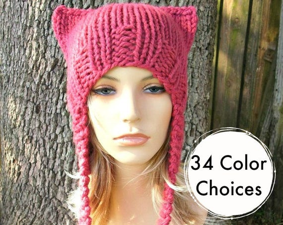 Pink Pussyhat Pink Cat Hat Womens Hat Pink Ear Flap Cat Hat - Raspberry Pink Ear Hat Pink Hat Pink Beanie Pink Pussy Hat - 34 Color Choices