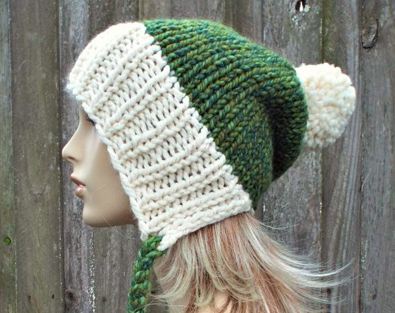 Chunky Knit Hat Womens Green and Cream Pom Pom Hat - Slouchy Ear Flap Beanie Braided Ties Warm Winter Hat - Charlotte - READY TO SHIP
