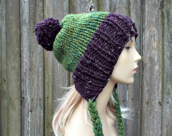 Chunky Knit Hat Womens Purple and Green Pom Pom Hat Slouchy Ear Flap Beanie Braided Ties Warm Winter Hat - Charlotte