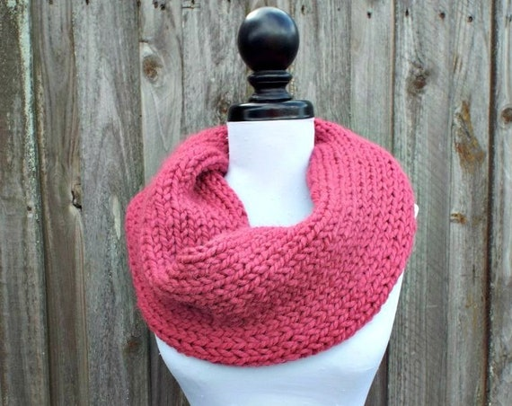 Womens Super Chunky Circle Scarf - Pink Knit Scarf Thick Cowl Scarf Knit Accessories Pink Scarf Pink Cowl Pink Circle Scarf - READY TO SHIP