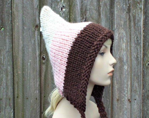 Neopolitan Pixie Hat - Chocolate Vanilla and Strawberry Pink Hat - Pink Hat Pink Hood Pink Ear Flap Hat Winter Hat - Large Adult Pixie Hat