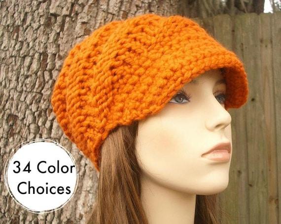 Chunky Knit Hat Womens Hat Orange Newsboy Hat - Swirl Beanie with Visor in Pumpkin Orange - Orange Beanie Orange Hat