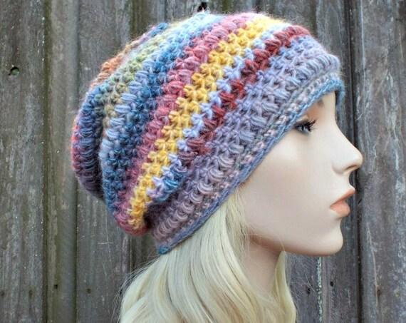 Crochet Hat Womens Hat - Penelope Puff Stitch Slouchy Beanie Hat - Red White Blue Regatta - Womens Accessories Winter Hat - READY TO SHIP