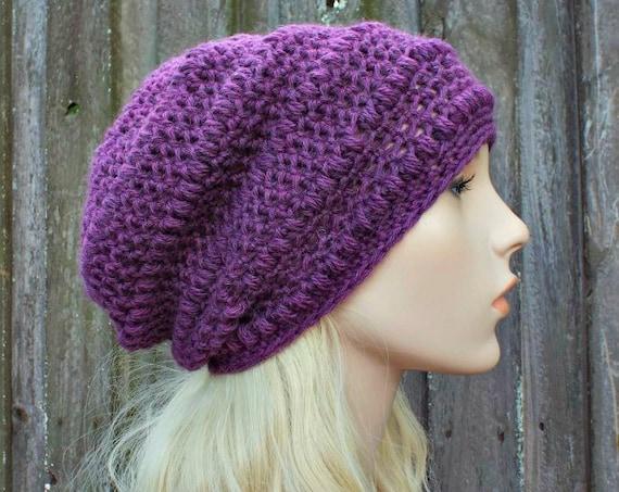 Amethyst Purple Crochet Hat Purple Hat Purple Beanie Womens Hat - Penelope Puff Stitch Slouchy Beanie - Purple Winter Hat - READY TO SHIP