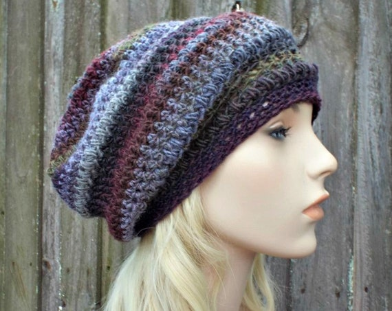 Crochet Hat Womens Hat - Penelope Puff Stitch Slouchy Beanie Hat - Embers Grey Hat Red Hat - Womens Accessories Winter Hat - READY TO SHIP