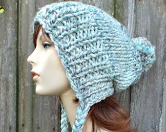 363bfce6a86 Seaglass Cream Brown Teal Slouchy Womens Winter Pom Pom Hat - Teal Hat Teal  Beanie Slouchy Hat Slouchy Beanie