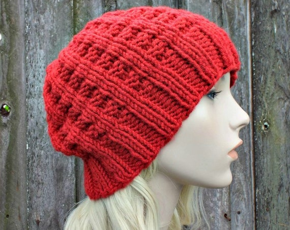 Chunky Knit Womens Hat Mens Hat Red Waffle Beanie Red Hat Red Beanie - Red Knit Hat Red Winter Hat Knit Accessories - READY TO SHIP
